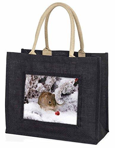 Advanta–Große Einkaufstasche niedlich Bereich Maus in Snow Große Einkaufstasche Weihnachtsgeschenk Idee, Jute, schwarz, 42x 34,5x 2cm (Snow-bereich)