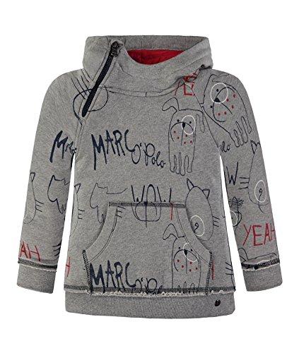Marc O'Polo Kids Jungen Sweatshirt 1/1 Arm mit Kapuze, Grau (Softgrey Melange 8200), 128