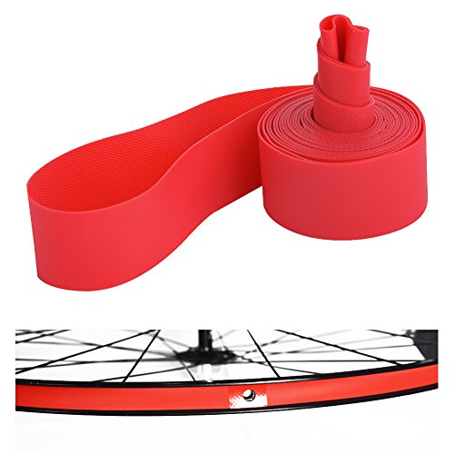 Dilwe Fahrradreifen Liner, PVC Rote Fahrradfelgenstreifen Felgenband für 20 Zoll 24 Zoll 26 Zoll 700C Reiträder(26inch)