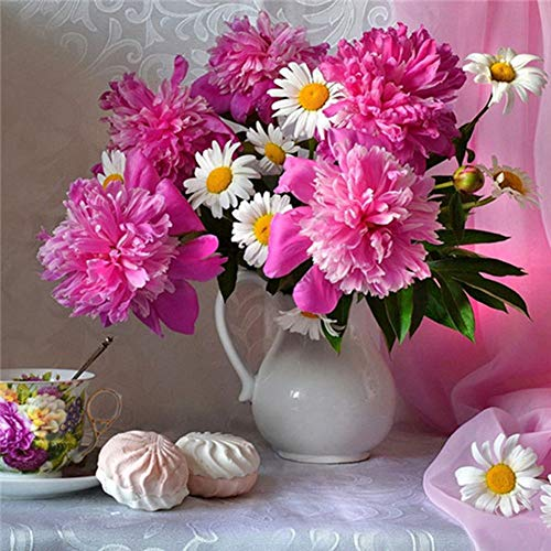 greatmin, kit per pittura a mosaico con strass 5d, per adulti, decorazione da parete, con crisantemi rossi e bianchi, in vaso, 30 x 30 cm, 1 confezione