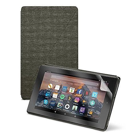 Fire 7-Pack mit Fire 7-Tablet, 17,7 cm (7 Zoll) Display, 8 GB (Schwarz), mit Spezialangeboten, Amazon Fire 7-Hülle (Schwarz) und NuPro Displayschutzfolien (2er-Pack)