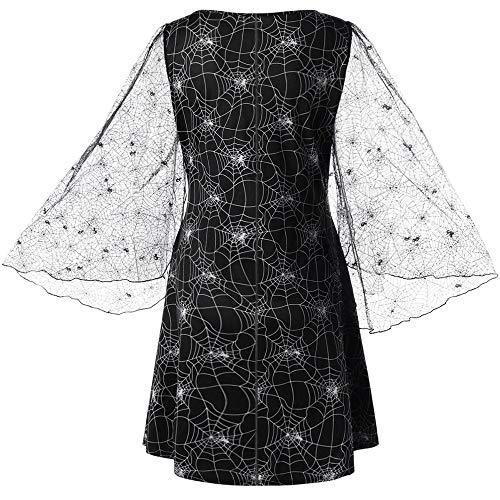 MAYOGO Kleid Damen Langarm Elegant Spitzenkleid lang Partykleid,Transparent Spitze Ärmel,Schneeflocke Spinnennetz Aushöhlen Leichter Seidenkleid Cocktailkleid Abendkleid