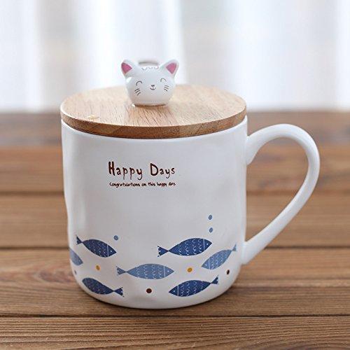 HONGYUANZHANG Keramiktasse Keramik Marke Cup Frühstück Milch Wasser Schale Büro Kaffee Tasse (8,9...