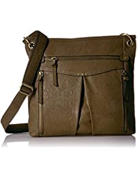 Bueno Of California Multiple Zip Pocket Shoulder Bag In Dk Moss