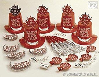 Kostüm Für Ideen Silvester (Silvesterparty Hutbox rot-silber