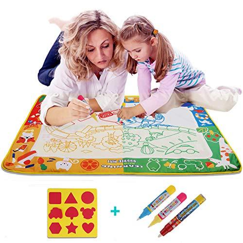 BIHAI Doodle Tappeto Magico,100cm x 70cm Tappeto Magico ad Acqua con 3 Pennarelli Magiche e 9 Francobolli - Regali Educativi per i Bambini