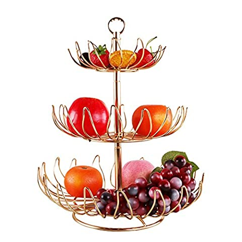 creative multi-fruit plate/ fashion European-style candy Bowl/Living room modern stainless steel three-tier fruit basket-A