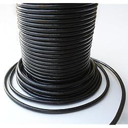 Auroris 50 M de cordón de Cuero de Rollo, Redondo de diámetro de 2 mm, Colour Negro