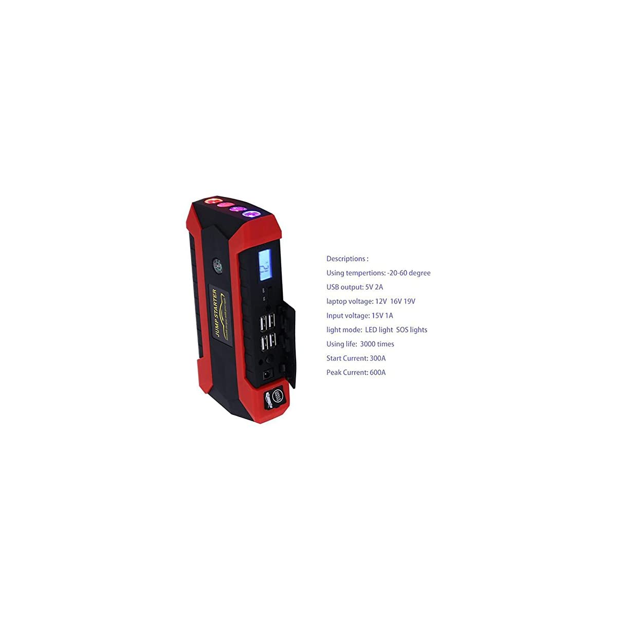 51Kh%2BCqBLtL. SS1200  - MIAO Auto Jump Starter - Coche de la gasolina / Diesel Car Universal Emergency Start Power Supply, 12V / 1A Lithium Battery, Multi-Function Car LED Linterna Mobile Power