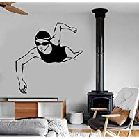 yiyitop Swimming Girls Wall Decal Sports Gym Vinyl Fitness Olympic Routine Sport Swimming Pool Design Wall Sticker Home Self DecorS 57 * 68cm