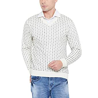 Duke Solid White Coloured Men Wool Sweater (Size:- L)