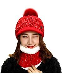 aeca75cf4057 TININNA 2 Pièces Ensemble Doublure Polaire Beanie Chapeau Bonnet et  Écharpede Cercle Cache-Col Tour de Cou Femme Fille en Tricot d hiver…