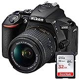 GYTE Fascio | Nikon D5600 - Fotocamera Reflex Digitale + Obiettivo AF-P DX NIKKOR 18-55mm f/3.5-5.6G + Scheda di Memoria SDHC 32GB - Nero