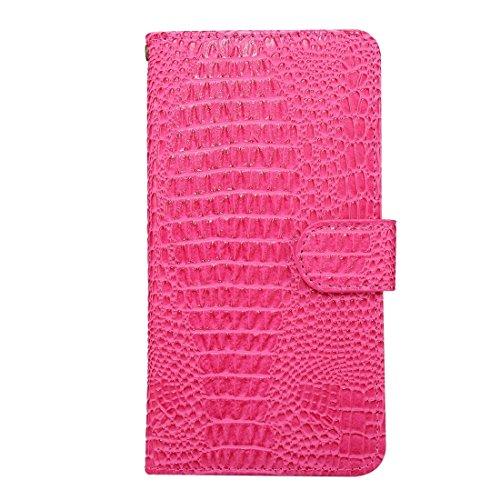 BING Universal Rotation Clip Krokodil Texture Case Geeignet für 4.8-5.3 Zoll Handys, für iPhone 7 & Samsung Galaxy S7 & S6 Edge & Huawei P9 Horizontale Flip PU Ledertasche mit Card Slots & Foto Frame  Magenta