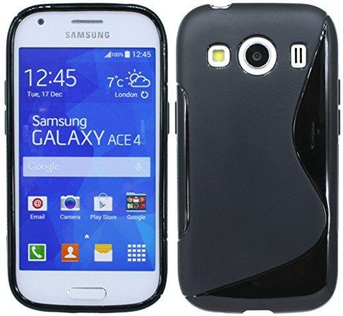 ENERGMiX S-Line TPU SchutzHülle kompatibel mit Samsung Galaxy Ace 4 G357FZ Silikon Hülle in Schwarz