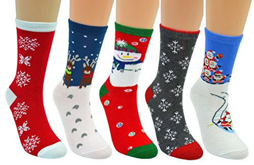 Fulier Adult Unisex Festive Christmas Novelty Fun Rich Cotton Socks 5 Pairs-snowman, Christmas Deer, Santa Claus, Snowflake