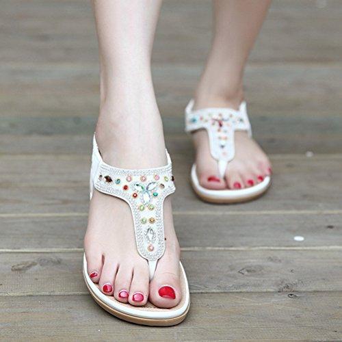Sommer Damen Bunte Steine Lichtdurchlässige Slip On Flache Strandschuhe Sandalen Weiß