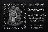 """Schiefertafel mit wetterfester Lasergravur des Motives """"Hund-046"""" (mit dem Musterbild oder Ihrem eigenen Foto - siehe Auswahl) und Ihrem Text/Daten in der gewünschten Schriftart z.B. als Grabschmuck auf das Grab oder als Schmucktafel für Zuhause von LaserArt24"""