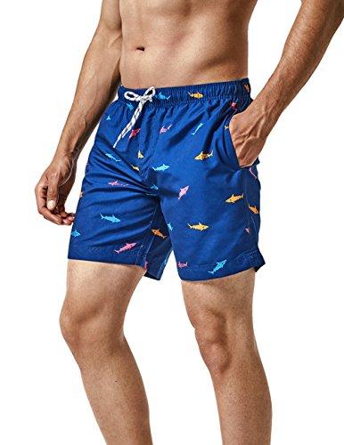MaaMgic Short de Bains Homme Maillot de Bain Pants Court de Sport Séchage Vite Bien pour Vacance a la Plage, Bleu Requin, Large(tour de taille:84~89cm)