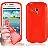 Samsung Galaxy S3 MINI Silikon-Hülle in ROT von Cadorabo - X-Line Design TPU Schutz-hülle – Handy-hülle Bumper Case Cover in INFERNO-ROT