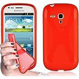 Cadorabo - TPU X-line Style Silikon Hülle für Samsung Galaxy S3 MINI I8190 - Case Cover Schutzhülle Bumper in INFERNO-ROT