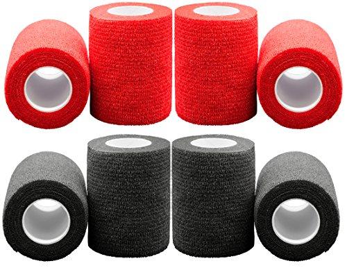 Bondage Tape Rot/Schwarz (8 Stück), Handschellen Erotik, Fixierung für lustvoll fesselnde Verführung und kreative Schnürungen, Bdsms Spielzeug für Paare