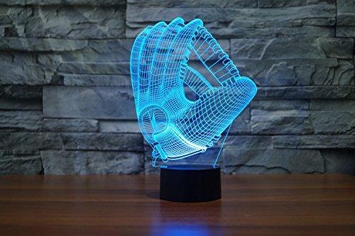 Youzone Magico pannello di visualizzazione 3D Optical Illusion 7 colori cambiano tattile USB Table Lamp Bulbing luce notturna a LED illuminazione domestica decorazione luci domestici (Guanti)