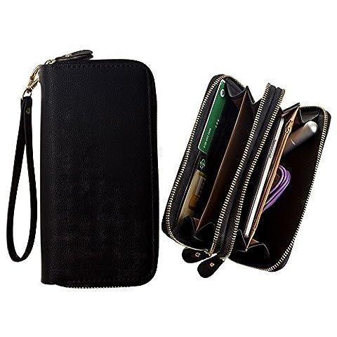 CellularOutfitter Dual Zipper Suede Phone Clutch/Wallet Case w/ Matching Detachable Wristlet - Black