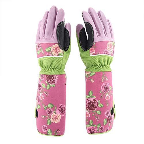 Fdit Longs Gants De Jardinage Anti-Épines pour Élagage De Coton Long Rose Protection du Poignet pour La Taille des Haies(Rose)