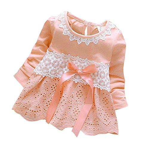 Kinderkleid Honestyi Baby Mädchen Lange Hülsen Partei Spitze Blumen Bogen Prinzessin Dress Kids Clothes (Roas,XL)