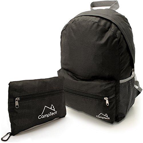 Campteck zaino viaggio pieghevole ultra leggero borsa per ciclismo, campeggio, vacanze, daypack ed altre attività all'aperto - 16 litri (nero)
