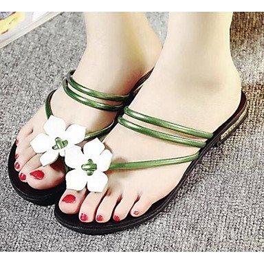 Fschooly Femmes Chaussures Pu Primavera Cadono Confort Faible Talon Sandales Pour Casual Vert Rouge Noir Argent Vert