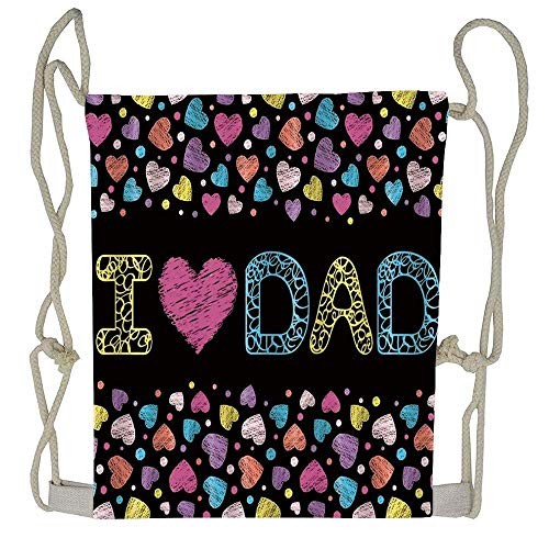 ration of Fathers Day Card Drawstring Tote Bag Cinch Gym Bags Storage Backpack for Boys Girls ()