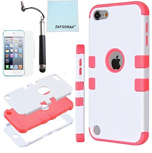 ZAFOOORAH Schutzhülle für Apple iPod Touch 5 (Silikon, Pinguinmotiv, inklusive Mini-Eingabestift, Displayschutzfolie und Mikrofasertuch), Doppel-Clip 3 Schichten - weiß/Dunkles Pink - Größe: Touch 5