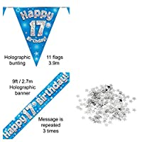Everyoccasionpartysuppplies 17th Birthday Decoration Kit Banner Bunting Confetti Blue Men Women Him Her