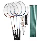 Badminton Komplett Set mit Netz Stangen Bälle Schläger Federball Spiel für bis zu 4 Spielern