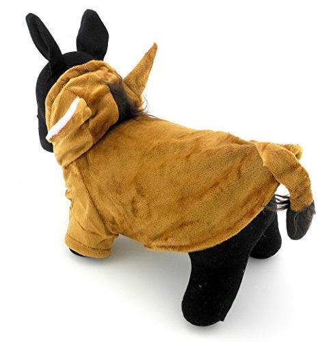 er Kleidung für Hunde Katzen Fleece Pferd Kostüm mit Kapuze Jacke Mantel Halloween Kleidung Braun (Grease Kostüm Ideen)