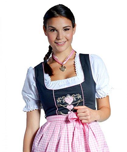 Midi-Dirndl Sara - schwarz/rosa/weiss - mit Herzen, Größe_Dirndl:44