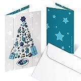 10 Stück Weihnachtskarte blau türkis weiß WEIHNACHTSBAUM Weihnachten Karte - ohne Text - Klappkarte MIT KUVERT Geschäftskunden Geschäftspartner Nostalgie klassisch Foto-Motiv weihnachtlich