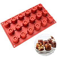 Baker Boutique Silicone Mold 18-Cavity Mini Bundt Canneles bordelais Fluted Cakes Resuable Heat Resistant Baking Mold