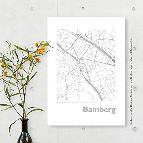 BAMBERG Stadtplan Bild in Gold Kupfer Silber Rosegold, 2 Größen, stilvolles Geschenk für Hochzeit Jahrestag Jubiläum Freunde Familie, Dekoration und Gestaltung für Büro und Zuhause
