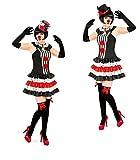 Sexy Pierette Set Harlekin-Kostüm Verkleidung-Pierrot Damen Rüschen-Rock-Kragen (34, kein Hut)