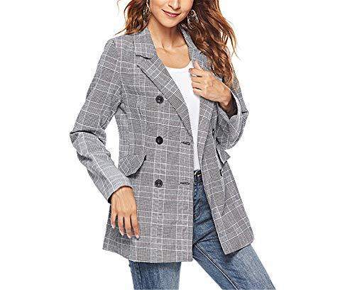 Okayit Büro Dame Anzug Frauen Plaid Blazer Frühling Herbst Langarm Zweireiher Schlank Karierte Mantel Freizeitjacke Oberbekleidung -