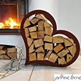 prima terra Kaminholzregal Kaminholzunterstand Brennholzregal Kaminholz Aufbewahrung Regal Herzform Edelrost H=52cm B=54cm