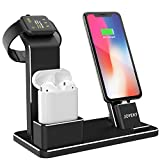 JOYEKY Apple Watch Ladestation 4 in 1 Premium-Aluminium iPhone Ladestation kompatibel mit AirPods/Watch Series 3/2/1/ iPhone X Max 8 8 Plus 7 7 Plus 6 5s 4/ iPad inkl. 2 Ladekabel (Schwarz)