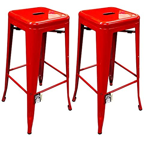 Marko Furniture Metal Breakfast Bar Stool Seat Chair Industrial Vintage Classic Style Kitchen (2, Red)