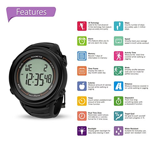 HealthSense PD-102 Smart 3D Pedometer Watch