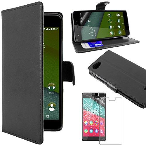 ebestStar - Coque Wiko Pulp 4G Etui PU Cuir Housse Portefeuille Porte-Cartes Support Stand, Noir + Film Protection écran Verre Trempé [Appareil: 143.9 x 72 x 8.8mm, 5.0'']