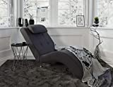 myHomery Relaxliege Tanja - Liege zum Entspannen - Relaxsessel fürs Wohnzimmer - Moderne Recamiere mit Stoff - Chaiselongue - Anthrazit