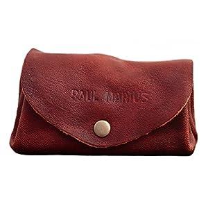 PAUL MARIUS LE GUSTAVE cartera de cuero, monedero estilo vintage Marrón Aceitado
